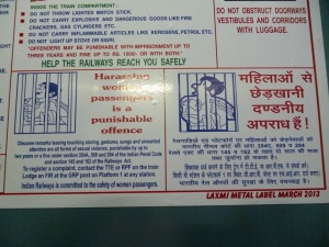 anti-harassing information on train